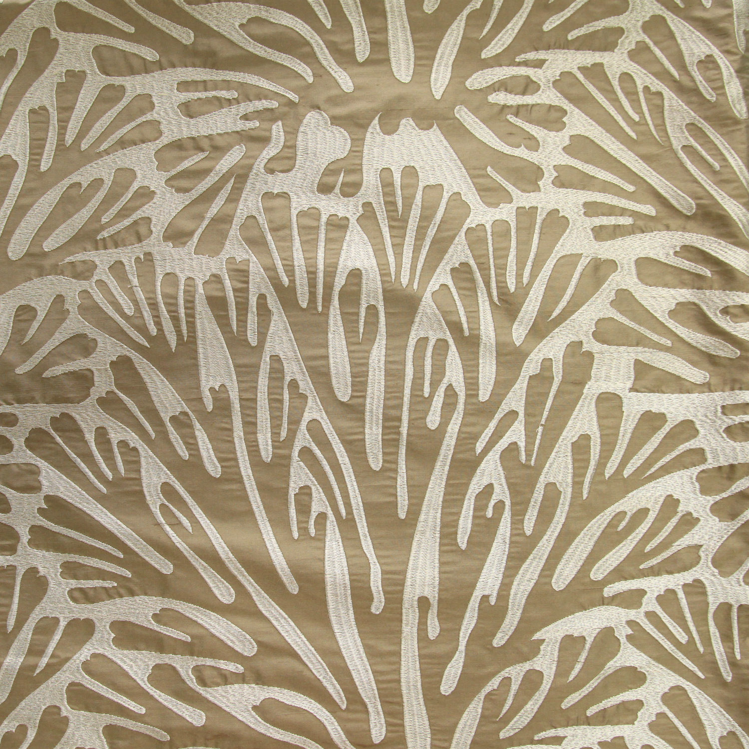 Embossed Oatmeal Brown Ornamental Motif On Almond Brown Cotton Blend